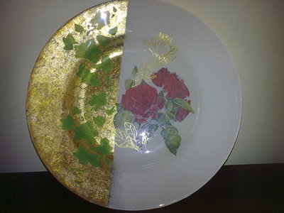 piatto decoupage sottovetro