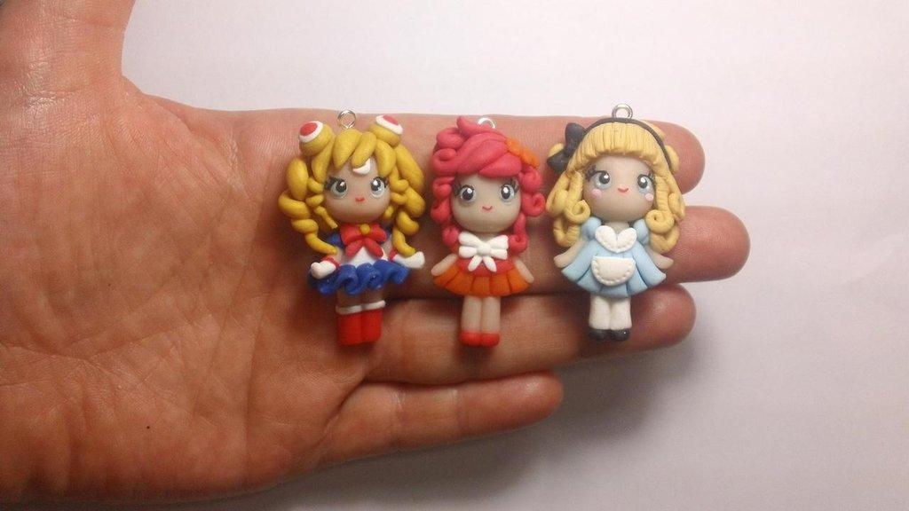 3 bamboline in fimo materiali bigiotteria di