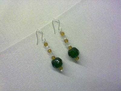 Orecchini perle grandi verdi e marroni
