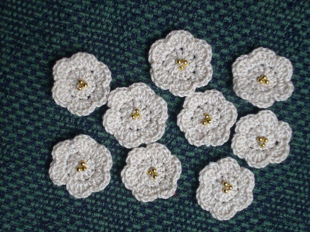 20 fiori a rotella con perline bomboniera scrapbooking applicazioni uncinetto