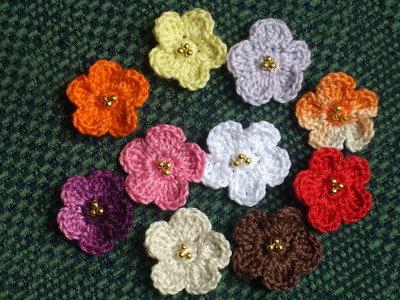 20 fiori perline uncinetto scrapbooking applicazioni bomboniera