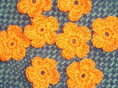 10 fiori arancioni uncinetto scrapbooking applicazioni bomboniera