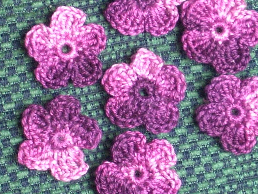10 fiori viola scrapbooking bomboniera applicazione uncinetto