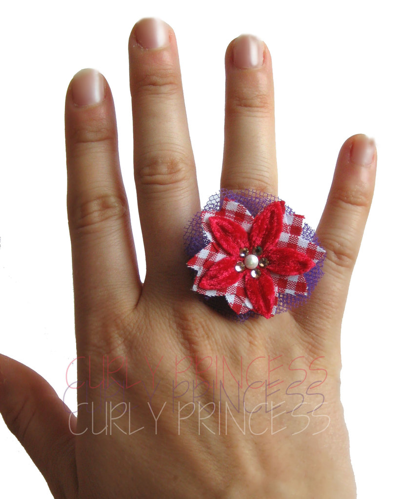 RED PASSION flower ring - anello fiore