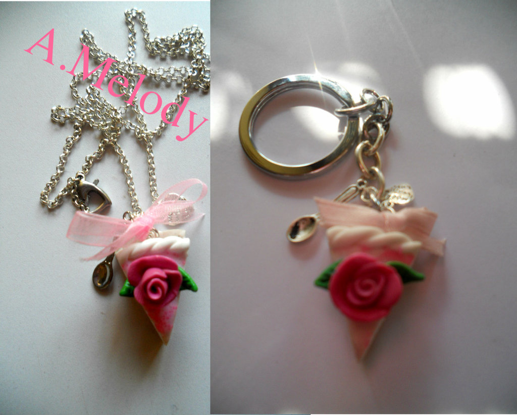 """Necklace      slice of cake and kein chain"