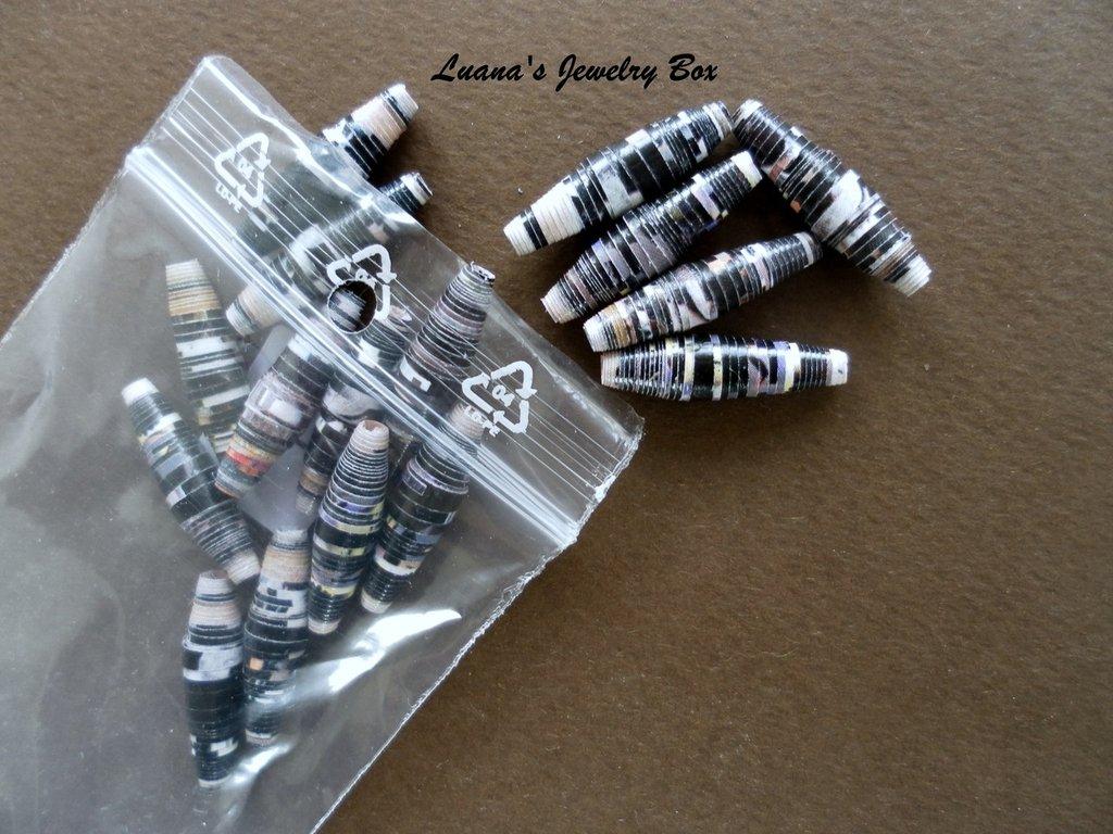 Perline di carta - bianco / nero