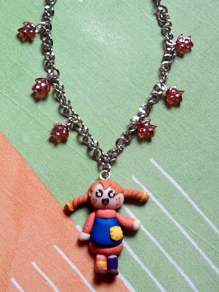 Collana con Pippi Calzelunghe e perle fimo