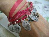 bracciale con charms gufetti personalizzati