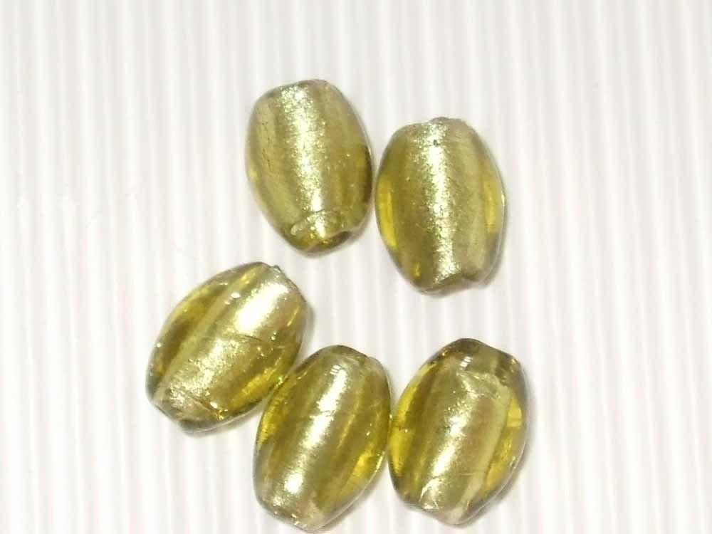 5 perle vetro foglia argento gialle