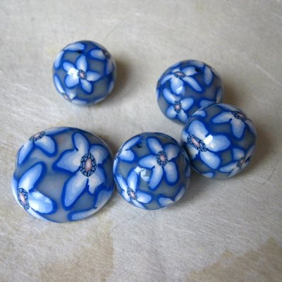1 Perlona + 4 perle in polymer clay