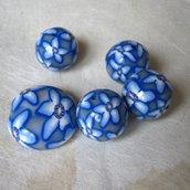 1 Perlona + 4 perle in polymer clay