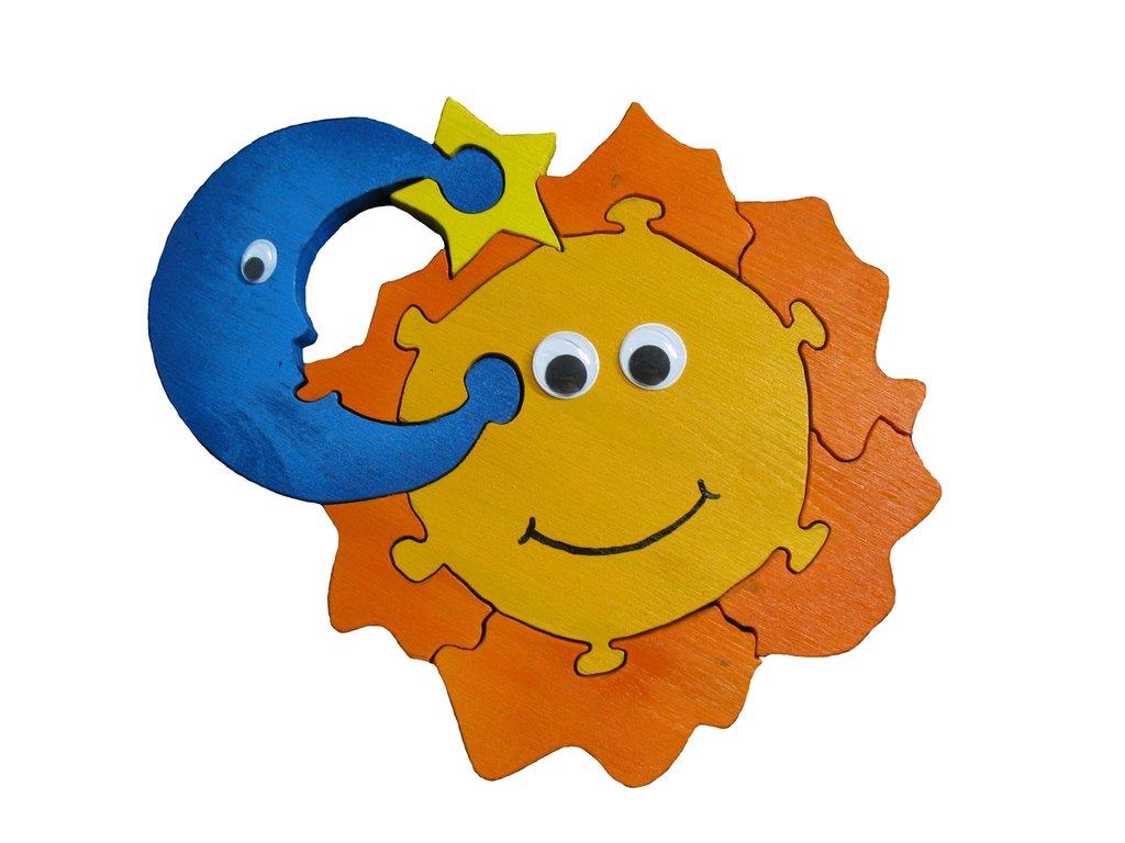 Puzzle 3D in legno - Sole Luna Stella