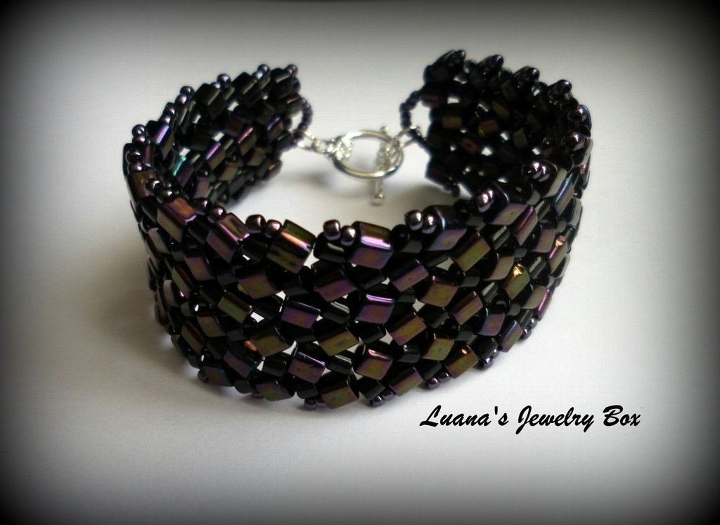 "Bracciale ""Mosaic"" - Metallic Purple & Jet"