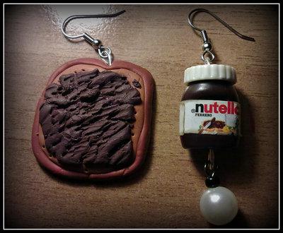 """Orecchini in fimo """" Pane e Nutella """""""