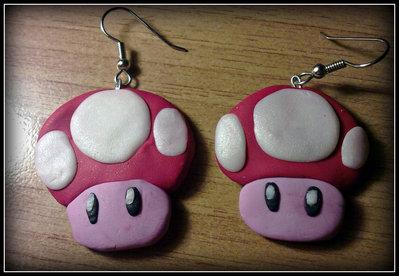"""Orecchini in fimo """" Funghi Super Mario Bross """""""