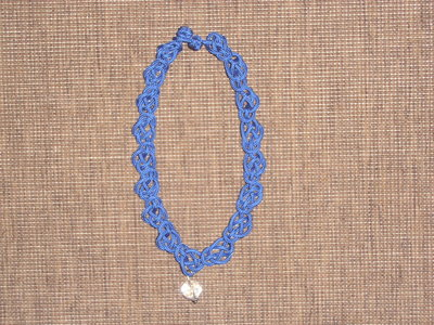 C7 collana girocollo blu con cristallo-----Blu handmade collar necklace with crystal