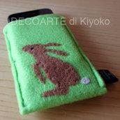 Custodia Iphone feltro verde