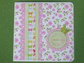 """Biglietto """"happy birthday"""" fiori rosa + farfallina verde"""
