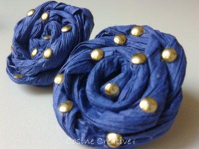 Orecchini di carta blu e oro (modello2)
