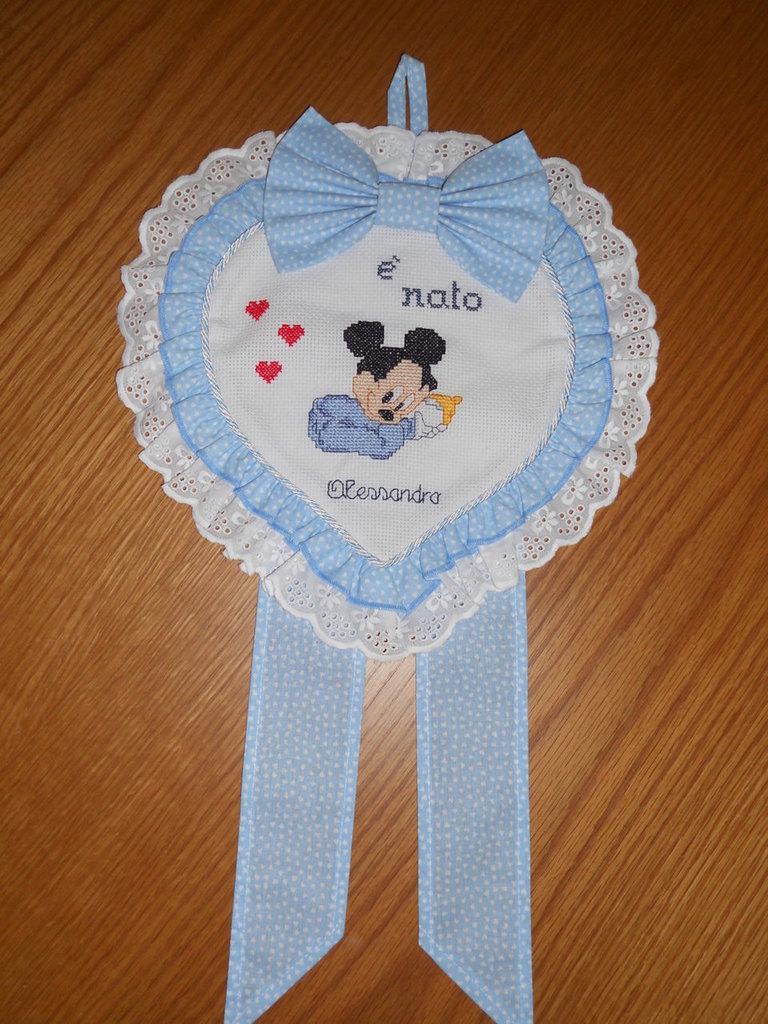 Ben noto fiocco nascita cuore azzurro | su MissHobby PY09