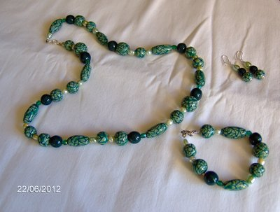 Parure verde in fimo stile murrine