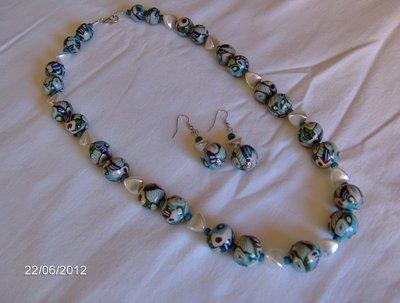 Collana azzurra in fimo stile murrine