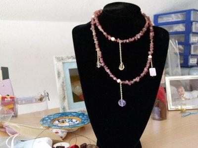 Collana adularia , citrino, ametista e perle e madreperla
