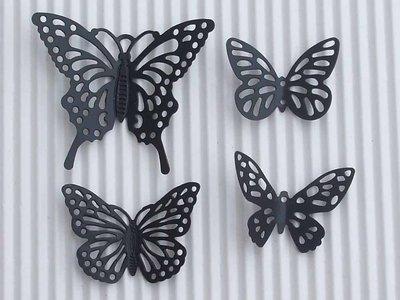 4 farfalle metallo nero  vend.