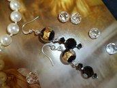 Orecchini con Perle di Murano con foglia oro e argento e cristalli Swarovski nero Jet