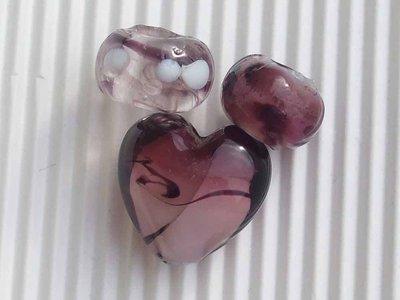 Lotto 3 perle vetro veneziano vend.