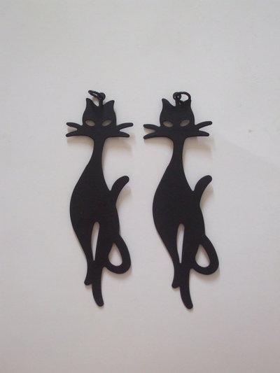Charm gatto metallo nero 88x20mm vend.