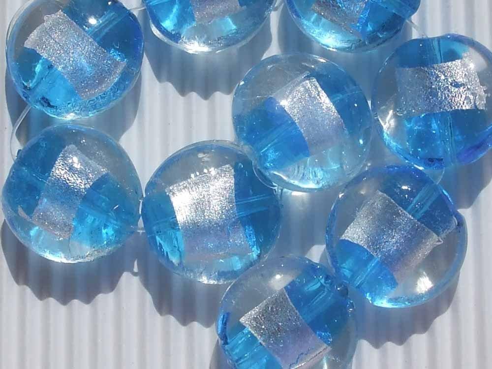 2 perle vetro turchese con foglia argento