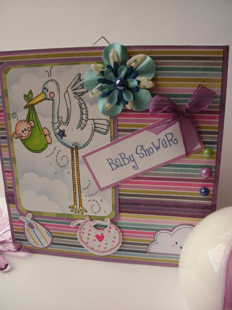 quadretto nascita targa attività baby shower cicogna con fagottino fiori gemme nastri colorati - personalizzabile in base all'occasione!