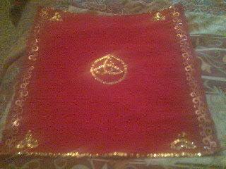 Telo altare in velluto rosso con trischeli dorati