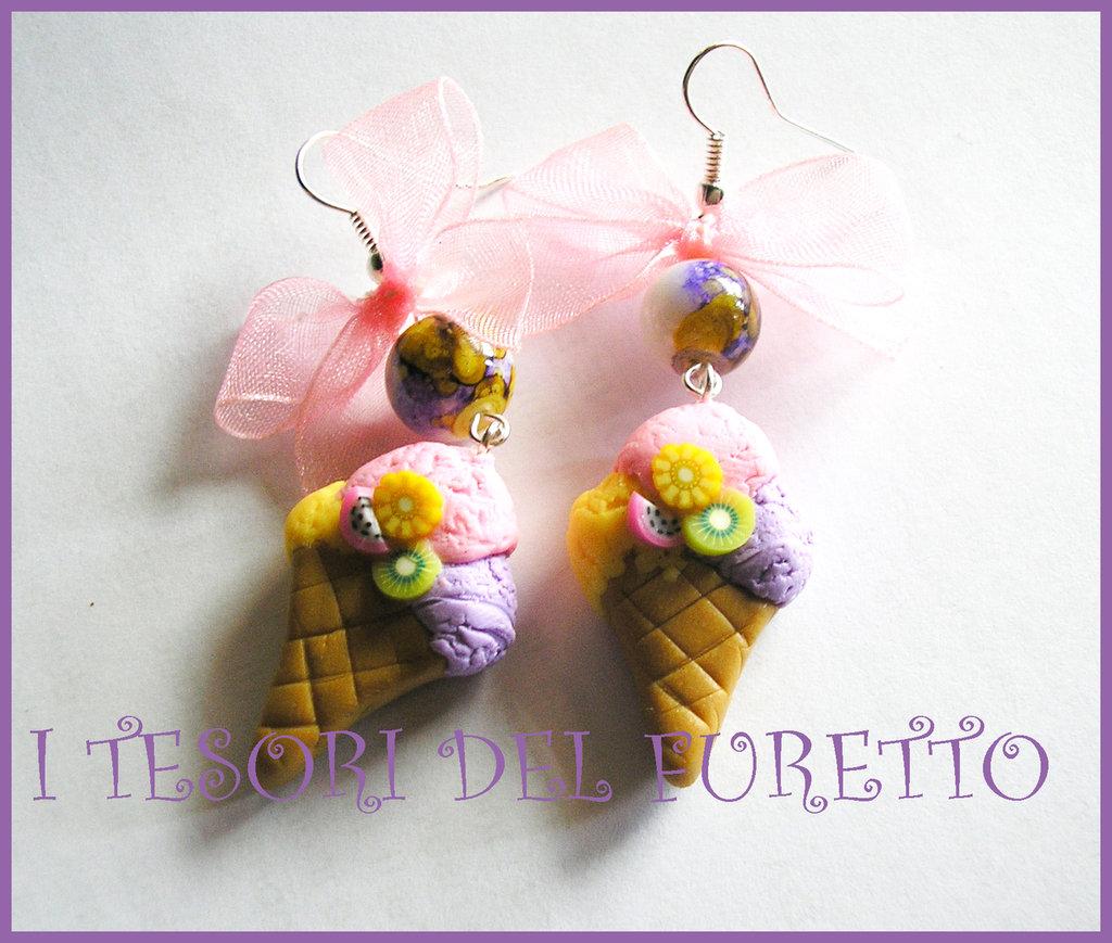 """Orecchini """"Gelato"""" fimo cernit idea regalo estate 2012"""