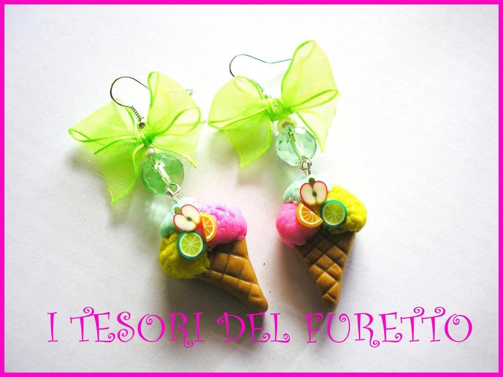 """Orecchini """"Gelato"""" 2 fimo cernit idea regalo estate 2012"""
