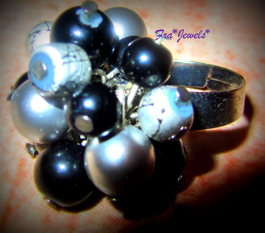 Anello mix perle Nero-Argento
