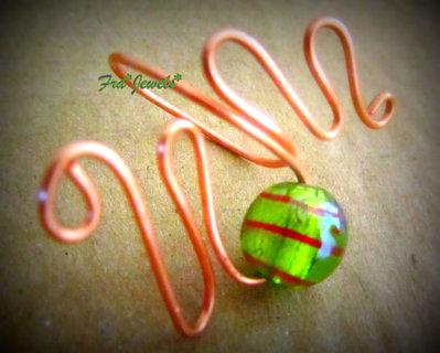 Anello Wire con Perla Verde e Rosso