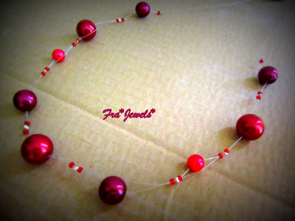 Collana Perle Bordeaux-Rosso