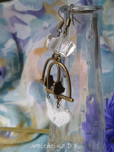 orecchini bronzati con uccellino sul ramo fatti a mano