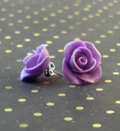 ORECCHINI ROSA - ROSE EARRING - Polymer Clay