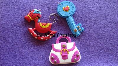lotto 3 pz charms chiave-cavalluccio-borsa