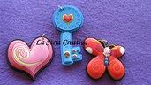 lotto 3 pz charms cuire-chiave-farfalla