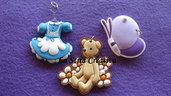 lotto 3 pz charms orso-farfalla-abito