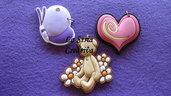 lotto 3 pz charms farfalla-cuore-orso