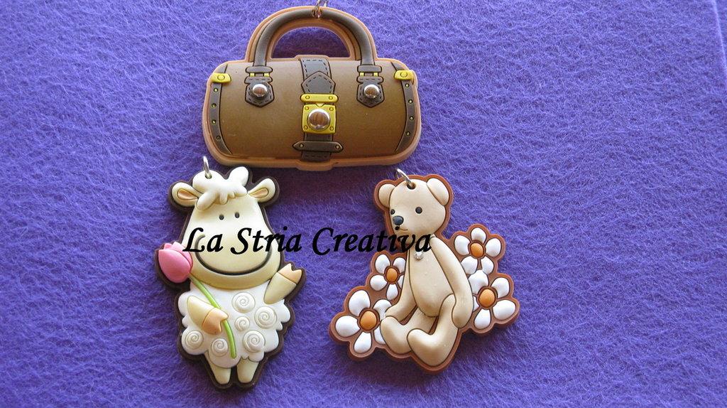 lotto 3 pz charms borsa-orso-pecora