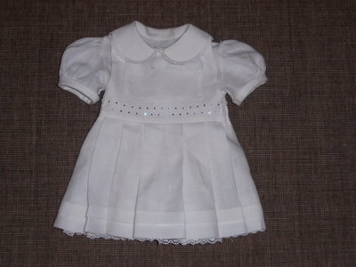 Completo battesimo in lino per bambina con gonna salopette---------Girl Christening flax outfit