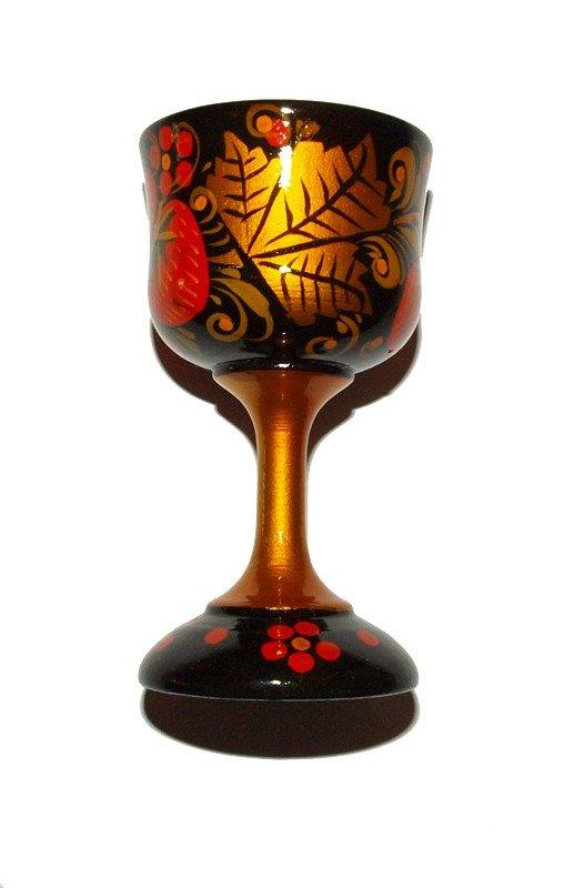 Bicchiere legno decorato a mano