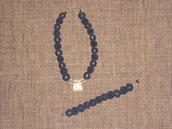 C2 collana & braccialetto a chiacchierino in cordino cerat5o blu---------blue collar necklace and bracelet made with tatting technique