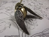harry potter necklace witch pocket watch pendant brass bronze golden ball wings chain charm y026